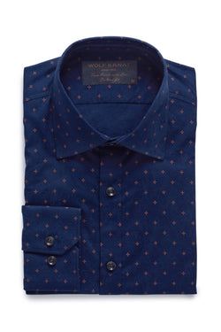 NAVY AND ORANGE JACQUARD COTTON SLIM FIT ROMANOV SHIRT