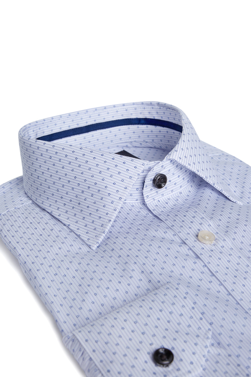 BLUE MICRO FLORAL PINSTRIPE COTTON SLIM FIT ROMANOV SHIRT