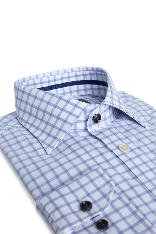 INDIGO MELANGE CHECK COTTON SLIM FIT ROMANOV SHIRT
