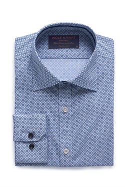 NAVY AND GREEN TILE PRINT COTTON SLIM FIT ROMANOV SHIRT