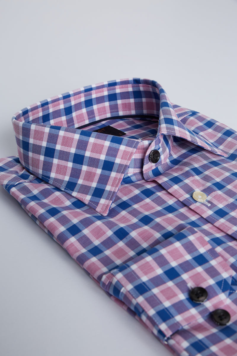 INDIGO AND BERRY RED CHECK SLIM FIT ROMANOV SHIRT