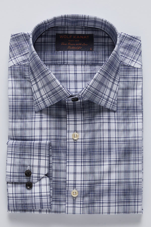 INDIGO BLUE OXFORD GINGHAM CHECK SLIM FIT ROMANOV SHIRT