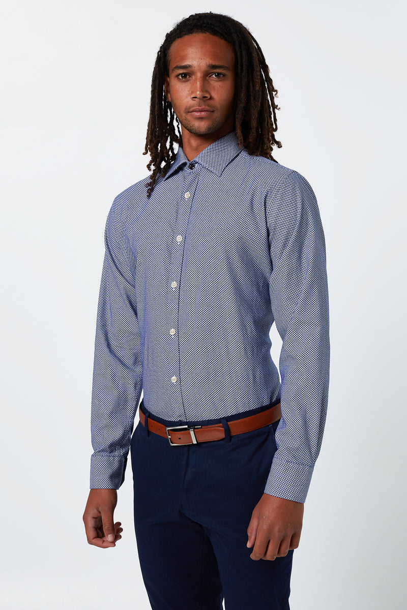 NAVY HERRINGBONE WEAVE SLIM FIT ROMANOV SHIRT