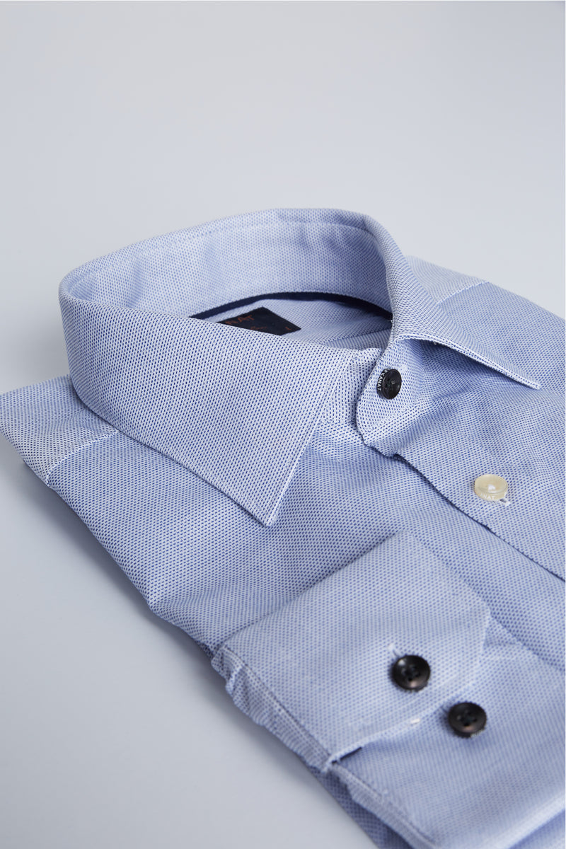 BLUE MICRO DOBBY TEXTURED SLIM FIT ROMANOV SHIRT