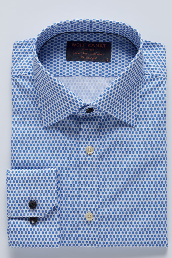 INDIGO BLUE MICRO PRINT SLIM FIT ROMANOV SHIRT
