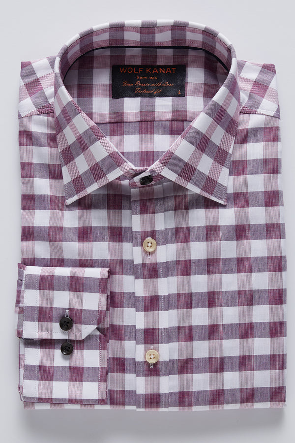 BERRY RED OXFORD GINGHAM CHECK SLIM FIT ROMANOV SHIRT