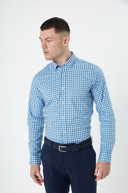 TEAL BLUE OXFORD GINGHAM BUTTON DOWN SLIM FIT KOSH SHIRT