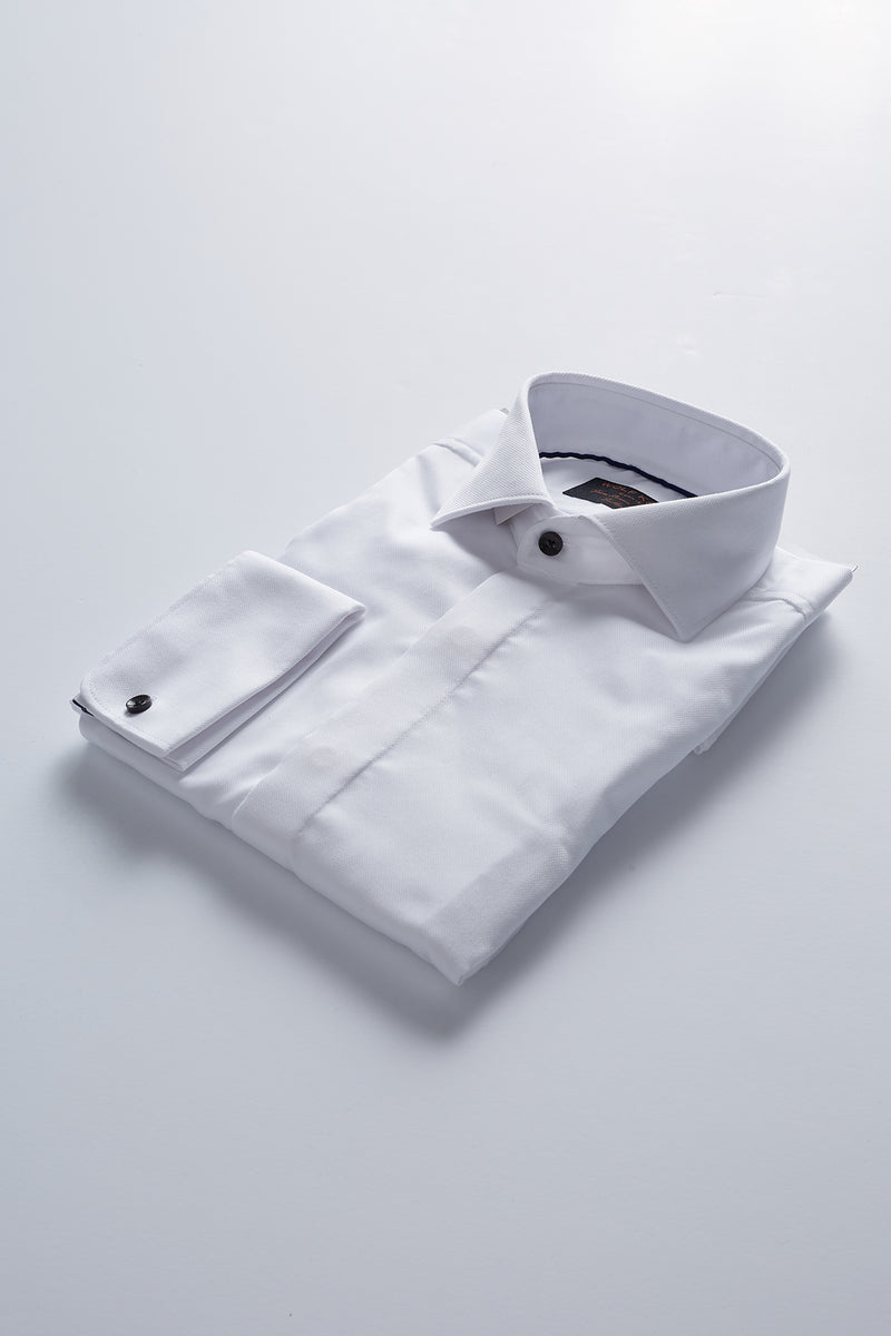 WHITE FLY FRONT DOUBLE CUFF SLIM FIT UZHIN SHIRT