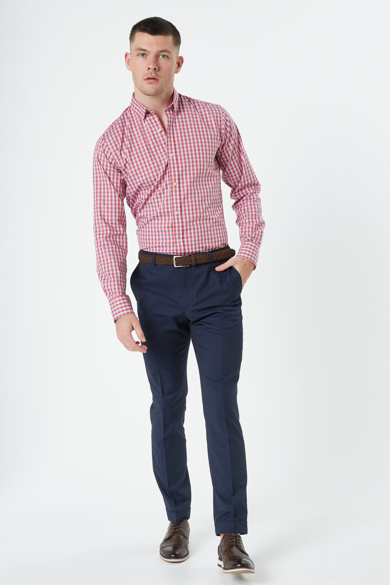 PINK OXFORD GINGHAM CHECK BUTTON DOWN SLIM FIT KOSH SHIRT