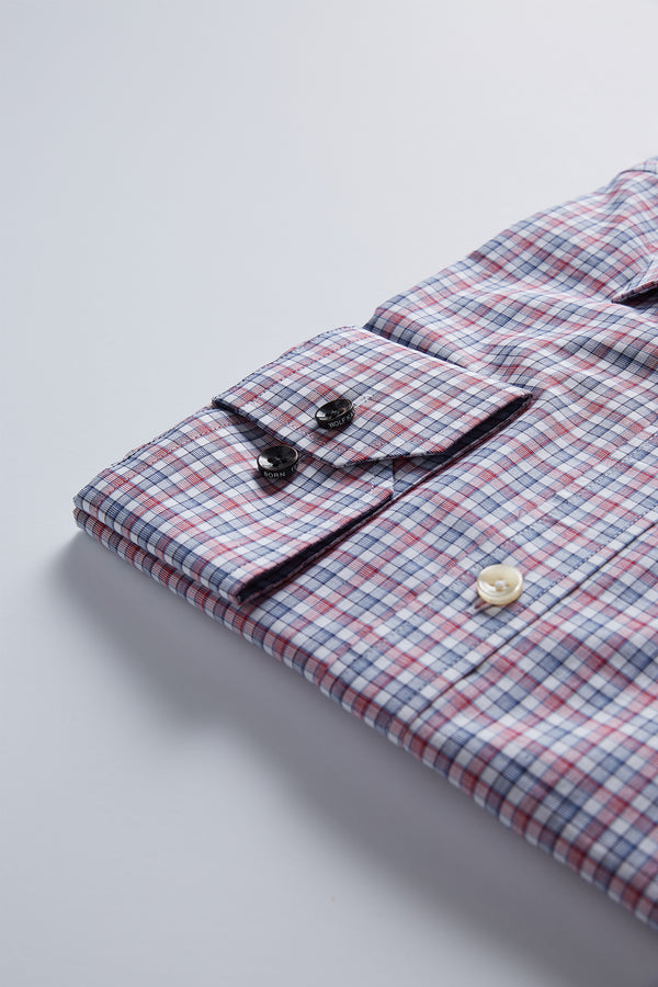 BLUE AND RED CHECK SLIM FIT ROMANOV SHIRT