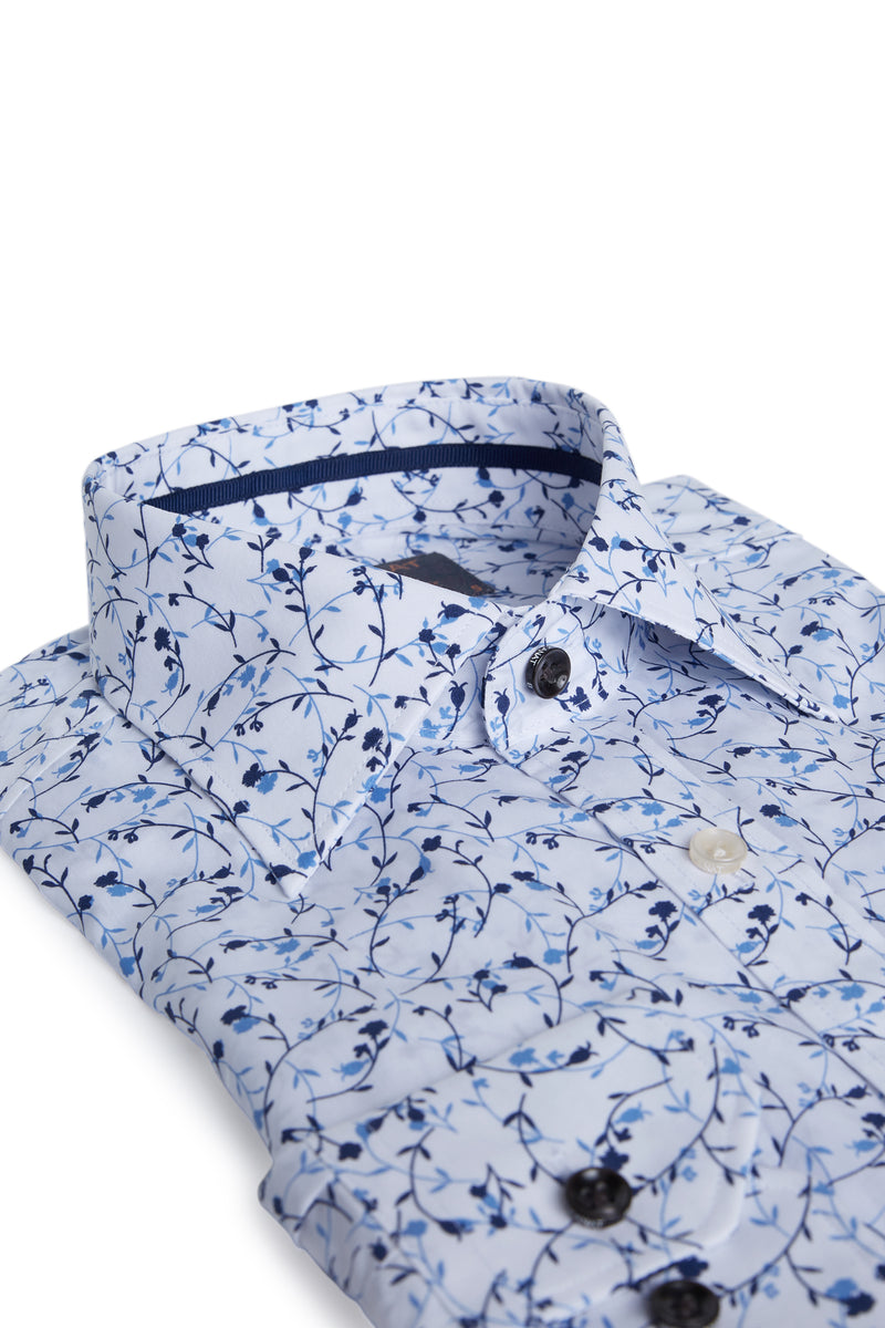 BLUE FLORAL PRINT COTTON SLIM FIT ROMANOV SHIRT