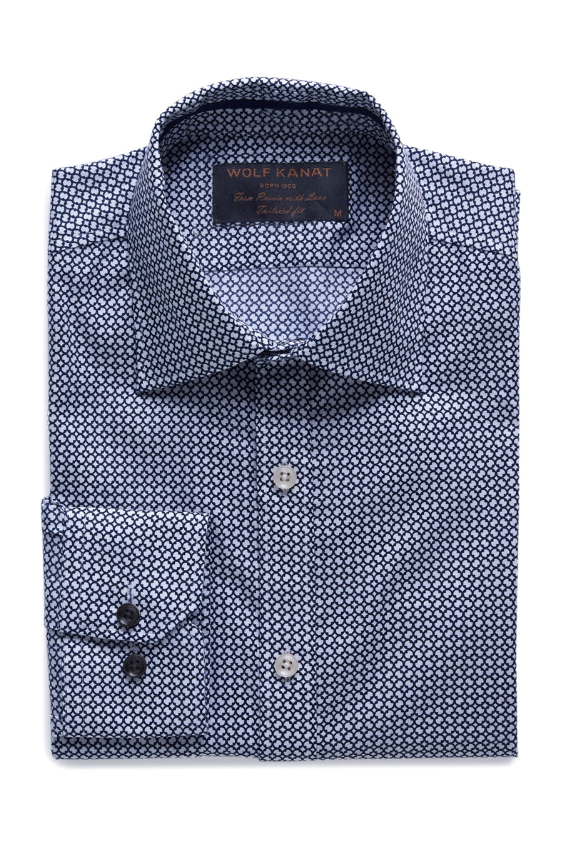 NAVY TILE PRINT COTTON SLIM FIT ROMANOV SHIRT