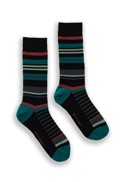 STRIPE COTTON SOCKS TEAL AND RED