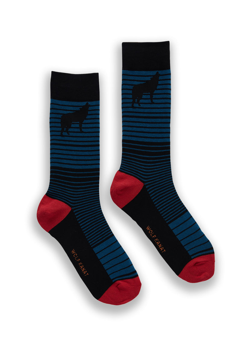 WOLF STRIPE COTTON SOCK BLUE AND BLACK