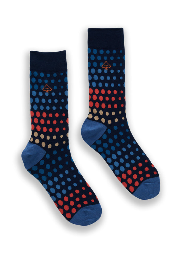 SPOT COTTON SOCKS NAVY AND BLUE