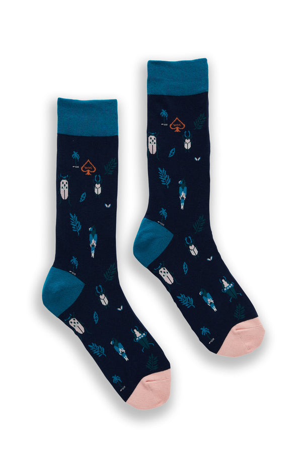 TROPICAL COTTON SOCKS NAVY AND TEAL