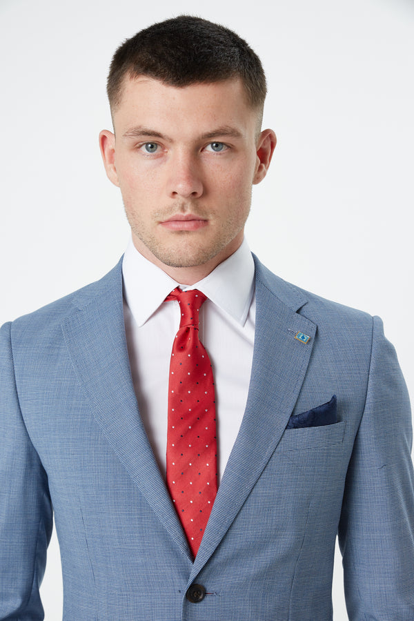RED POLKA DOT SILK TIE