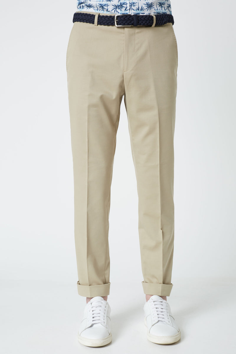STONE COTTON WOOL STRETCH SLIM FIT YURY TROUSERS