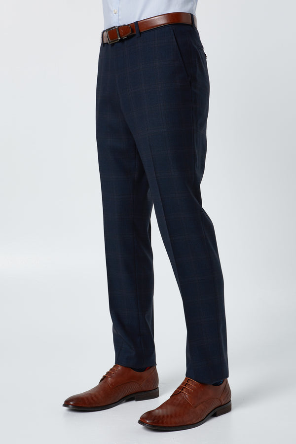 NAVY PRINCE OF WALES CHECK MELANGE SLIM FIT HEARTS TROUSER