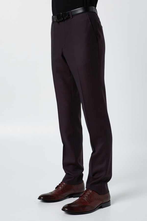 RED WOOL BIRDSEYE SLIM FIT HEARTS TROUSER