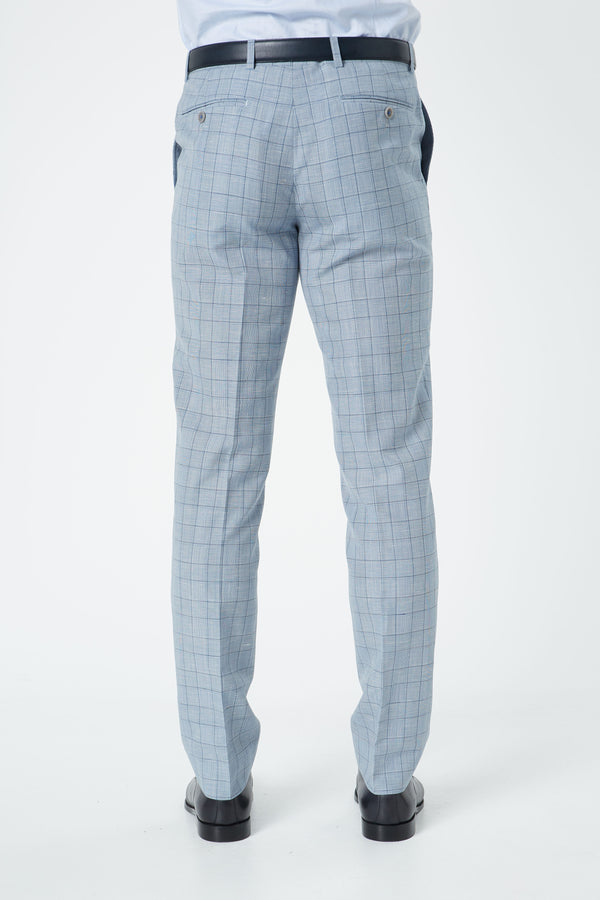 LIGHT BLUE WOOL LINEN PRINCE OF WALES SLIM FIT HEARTS TROUSER