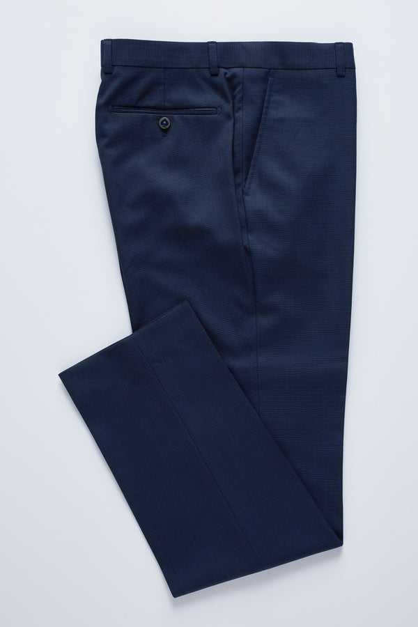 NAVY PRINCE OF WALES CHECK MELANGE REGULAR FIT KONSUL TROUSER