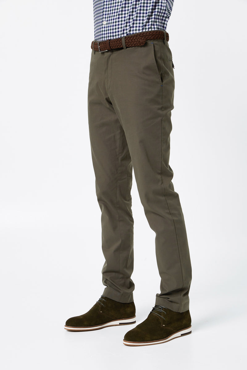 OLIVE COTTON STRETCH SLIM FIT TOPSKY CHINO