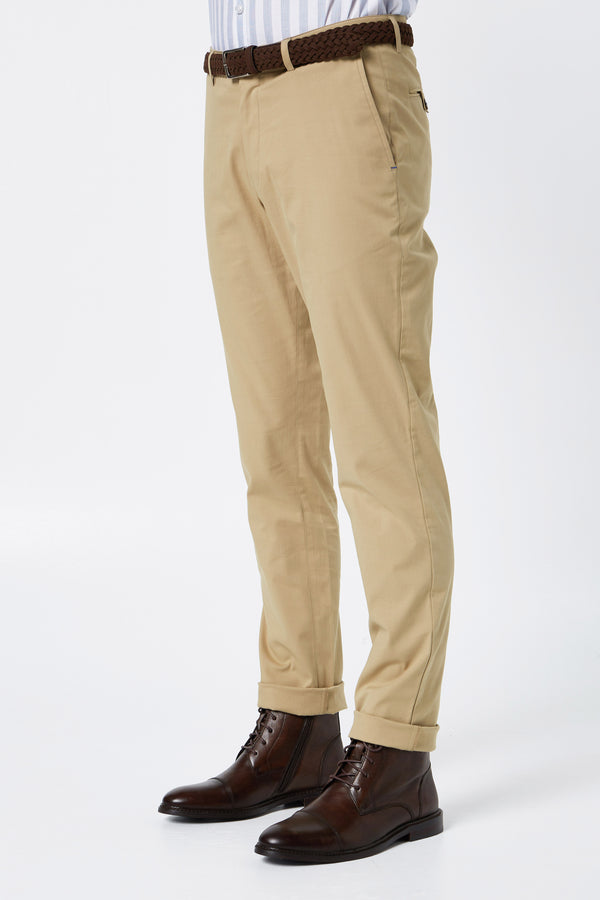 Khaki COTTON STRETCH SLIM FIT TOPSKY CHINO