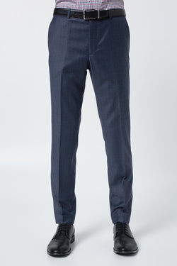 BLUE MELANGE SUPER 100'S WOOL SLIM FIT HEARTS TROUSER