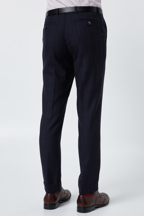 NAVY WINDOWPANE CHECK WOOL SLIM FIT HEARTS TROUSER