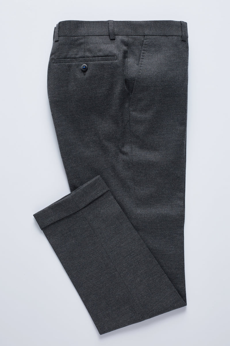 GREY STRETCH WOOL FLANNEL CUFFED SLIM FIT YURY TROUSER