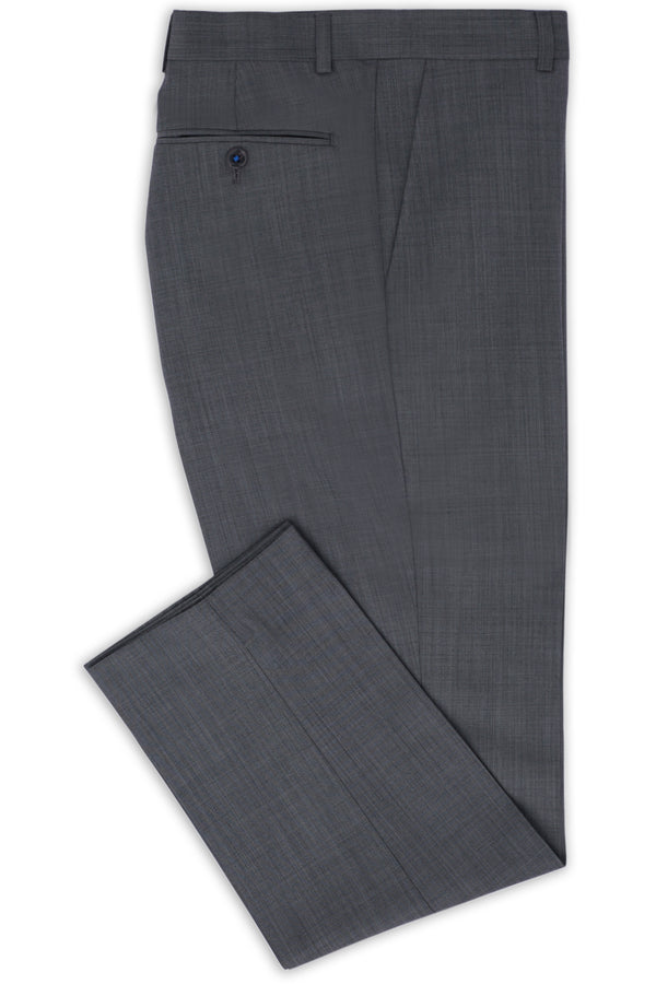SILVER GREY SUPER 120'S WOOL SHARKSKIN CAVIAR TROUSER