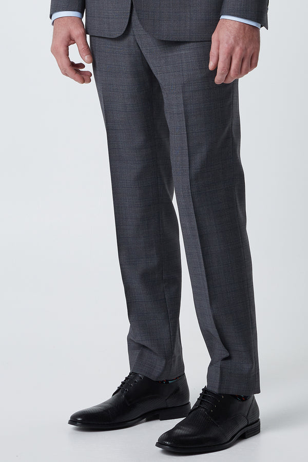 GREY PRINCE OF WALES WOOL CHECK REGULAR FIT COSMONAUT TROUSER