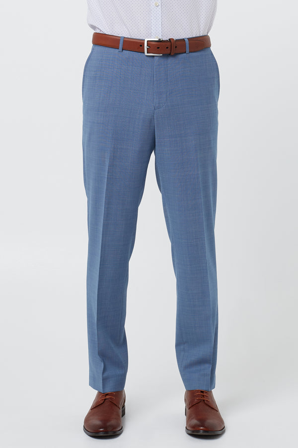 LIGHT BLUE MICRO TEXTURE WOOL REGULAR FIT CAVIAR TROUSER