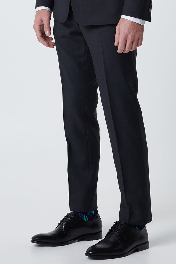 NAVY SUPER 120'S WOOL SHARKSKIN REGULAR FIT CAVIAR TROUSER