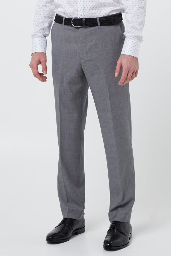 GREY MICRO TEXTURE WOOL REGULAR FIT CAVIAR TROUSER