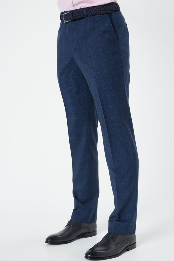 NAVY MELANGE CHECK SUPER 100'S TROPICAL WEAVE SLIM FIT HEARTS TROUSER