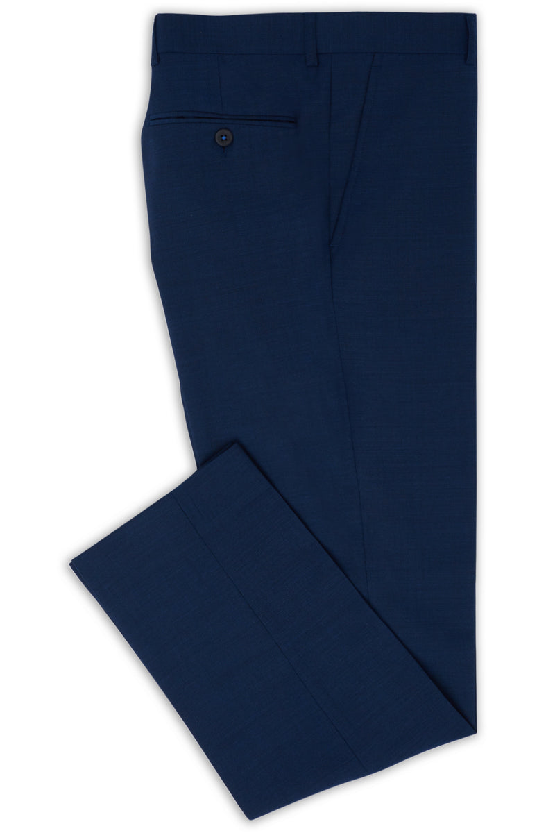 BLUE TEXTURED WOOL BLEND DIAMONDS TRAVEL TROUSERS