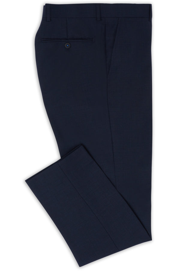 NAVY MICRO TEXTURE SUPER 100'S WOOL SLIM FIT HEARTS TROUSER