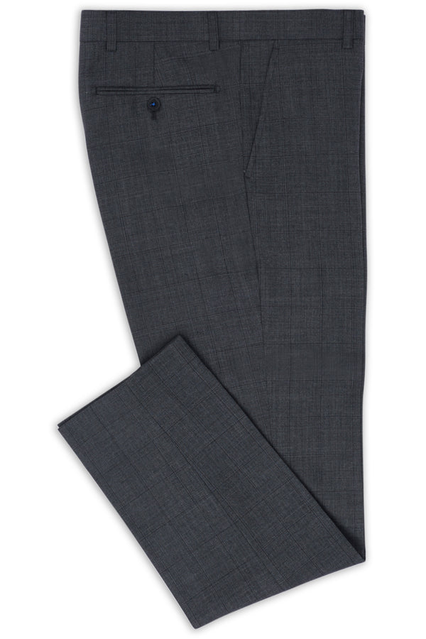 GREY SUPER 100'S WOOL WINDOWPANE CHECK SLIM FIT HEARTS TROUSER