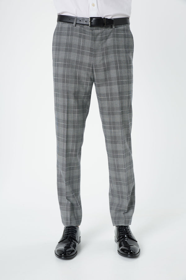 BLACK AND WHITE PRINCE OF WALES CHECK SUPER 100'S SLIM FIT HEARTS TROUSER