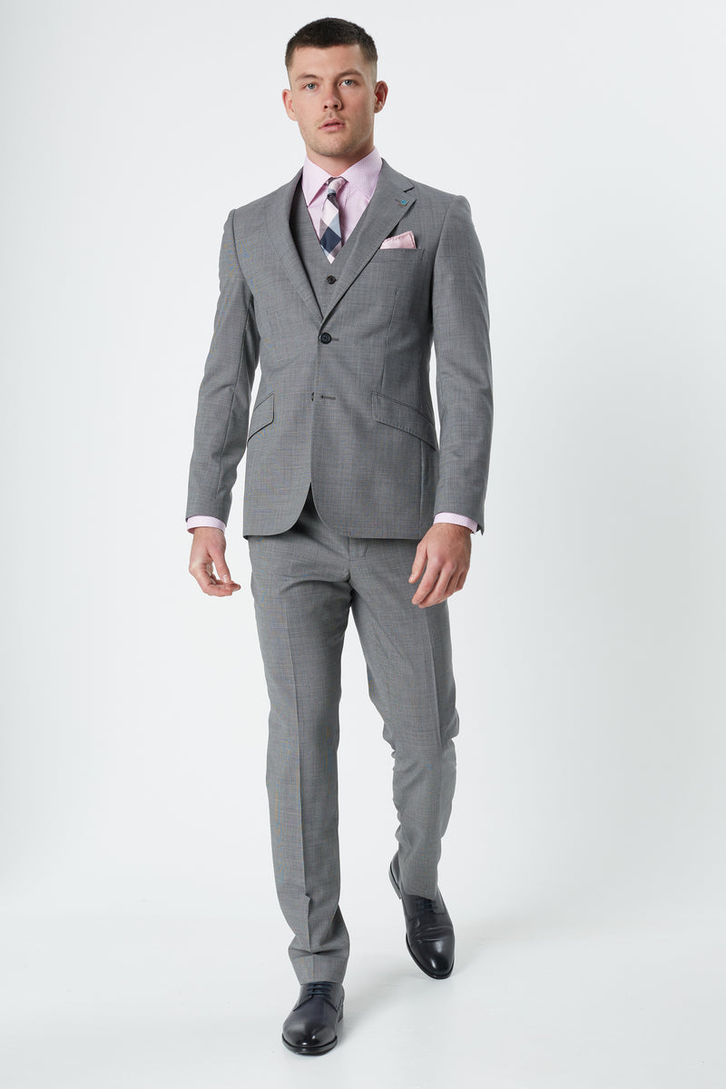 GREY TEXTURED MICRO SUPER 100'S WOOL SLIM FIT HEARTS TROUSER