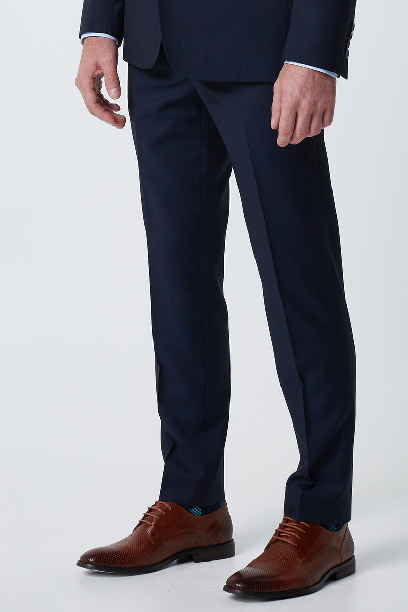 NAVY SUPER 100'S WOOL SELF STRIPE SLIM FIT LENINGRAD TROUSER