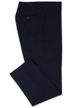NAVY SUPER 100'S WOOL SELF CHECK SLIM FIT LENINGRAD TROUSER