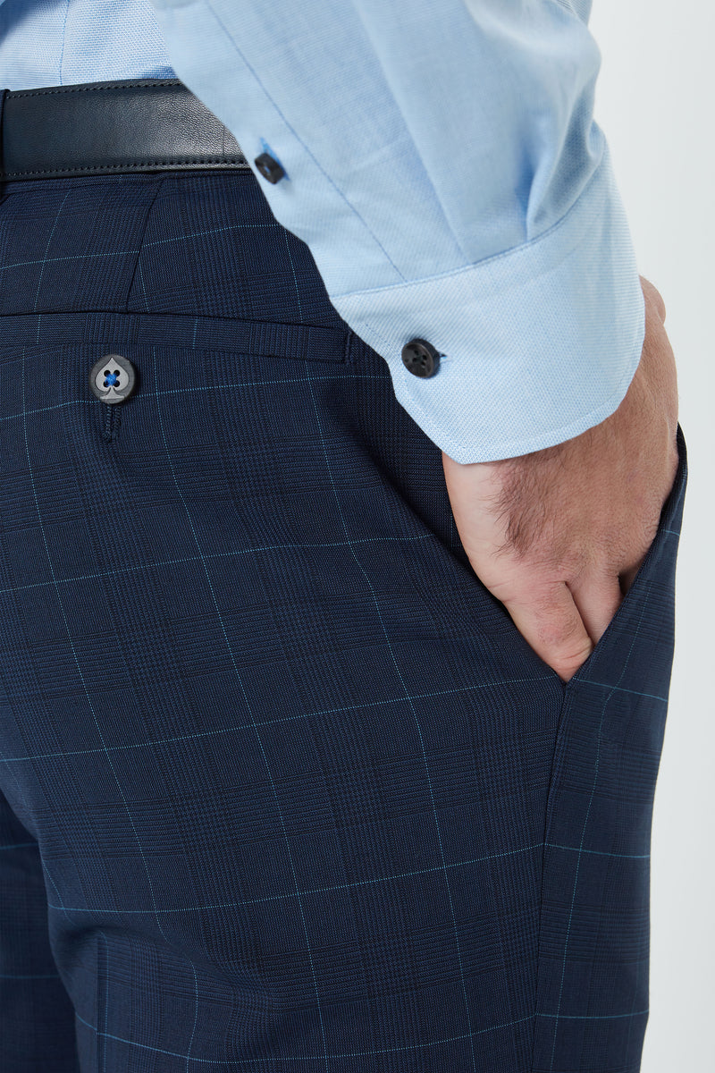 NAVY PRINCE OF WALES STRETCH 'SHADOW' CHECK SLIM FIT YURY TROUSER