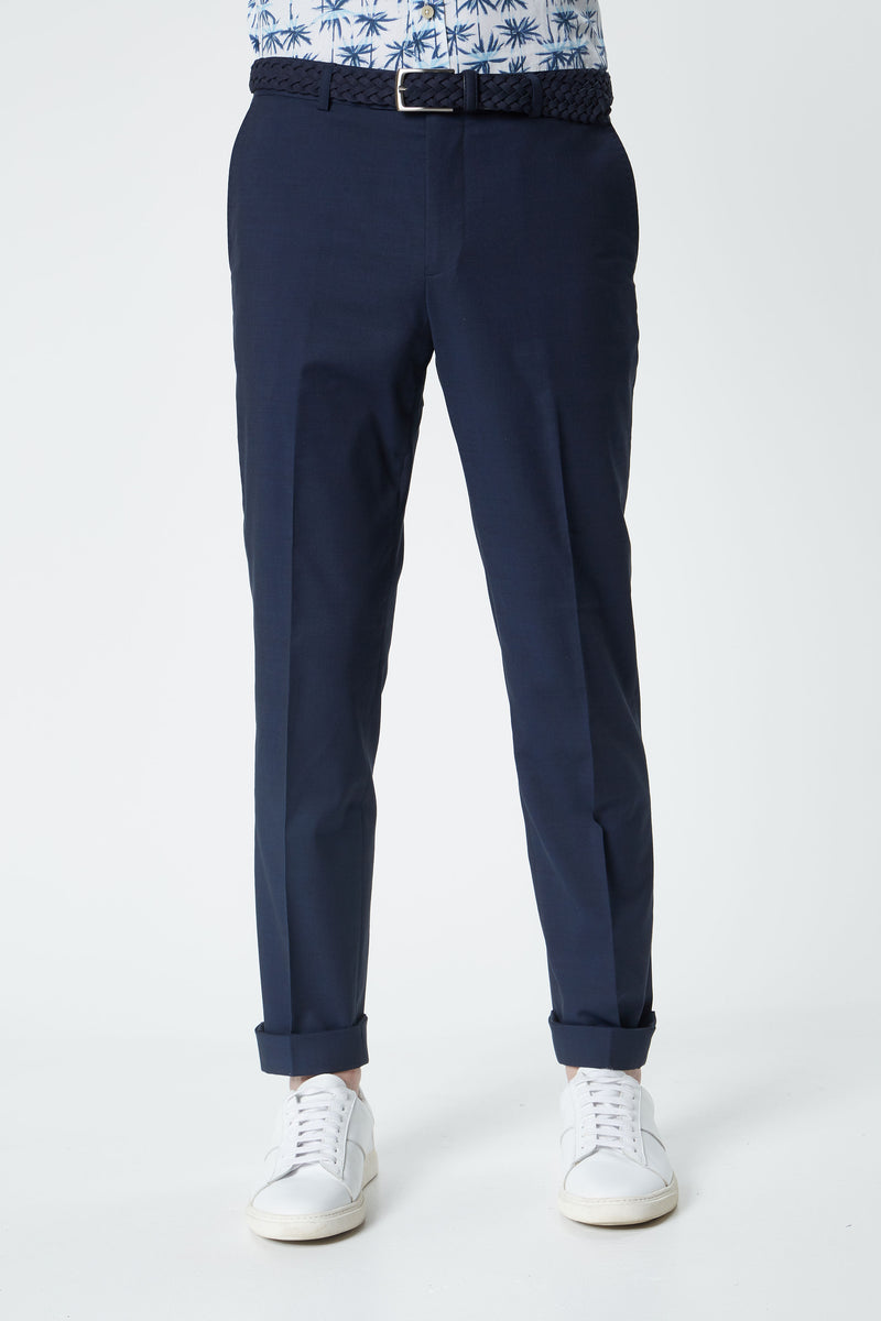 NAVY COTTON WOOL STRETCH SLIM FIT YURY TROUSERS