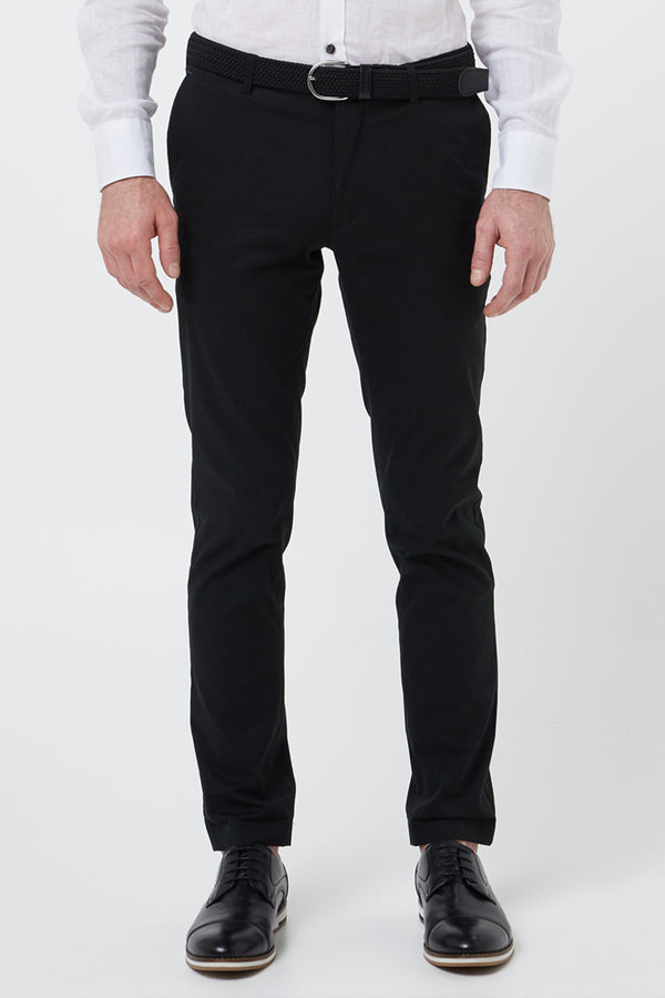 BLACK COTTON STRETCH SLIM FIT TOPSKY CHINO
