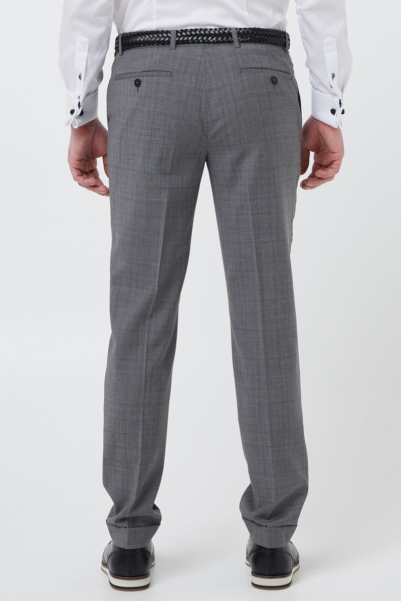 GREY PRINCE OF WALES WOOL CHECK SLIM FIT YURY TROUSER