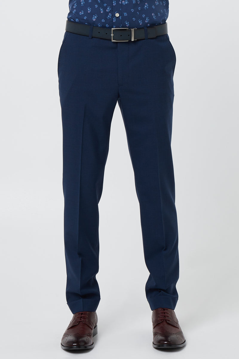 BLUE HOUNDSTOOTH WOOL SLIM FIT YURY TROUSER