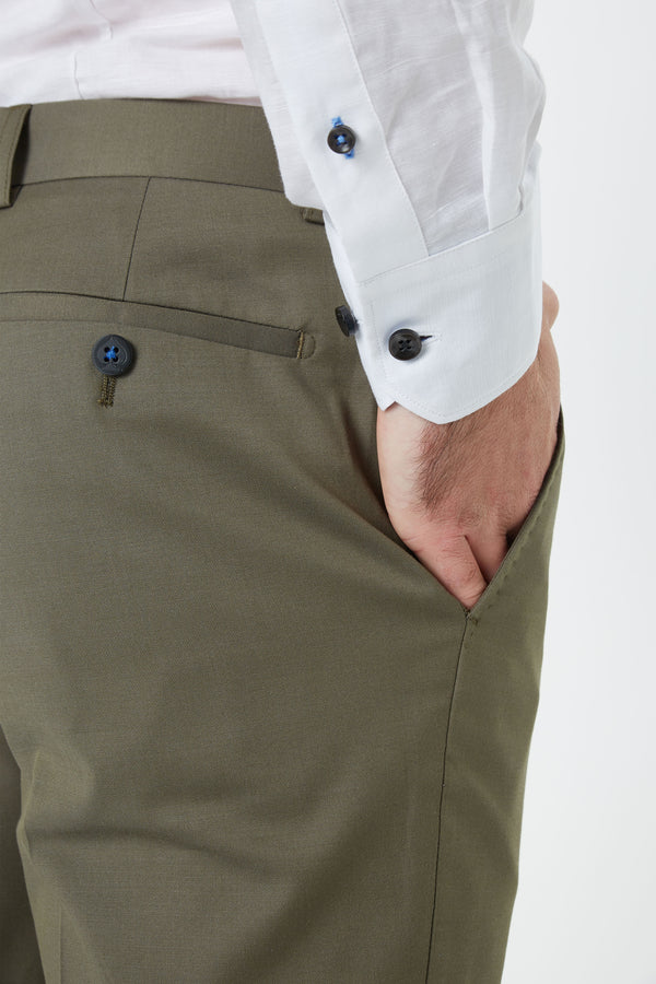 KHAKI COTTON WOOL STRETCH SLIM FIT YURY TROUSERS